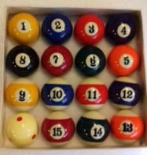 """2"""" 51mm PARTNERS POOL BALLS Large numbers + 1 7/8 Red Spot Match 47.5mm Cue ball"""